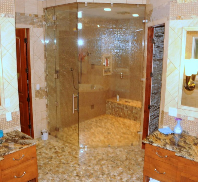 Separate his and her vanity sinks with bowls and tile walk-in steam shower