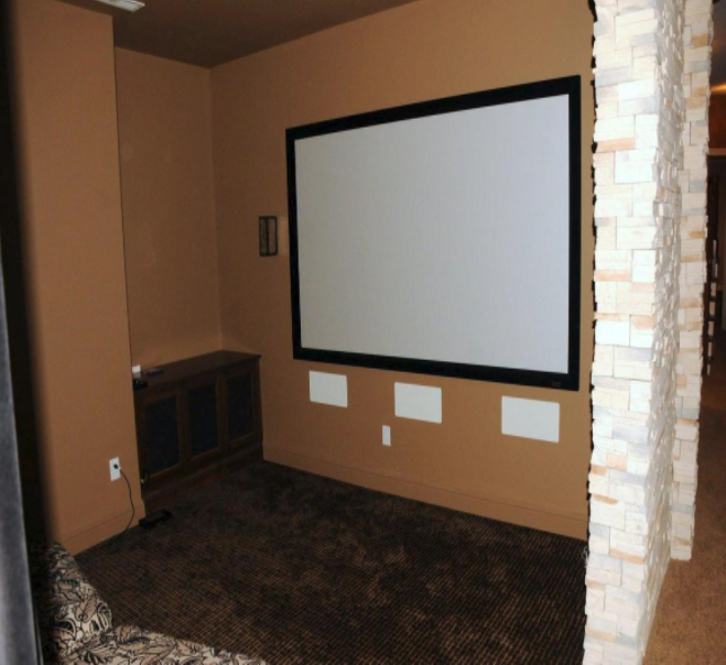 Home theater system with audio surround sound and plenty of seating for family and friends