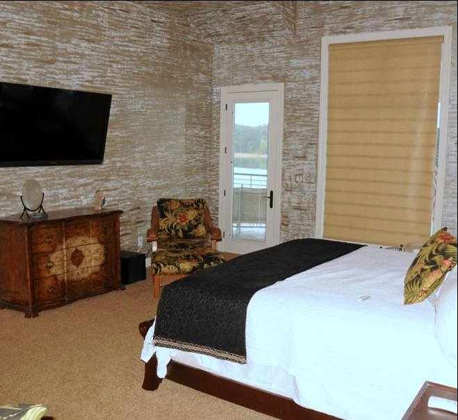 Master bedroom with beautiful views of the water on Norris Lake