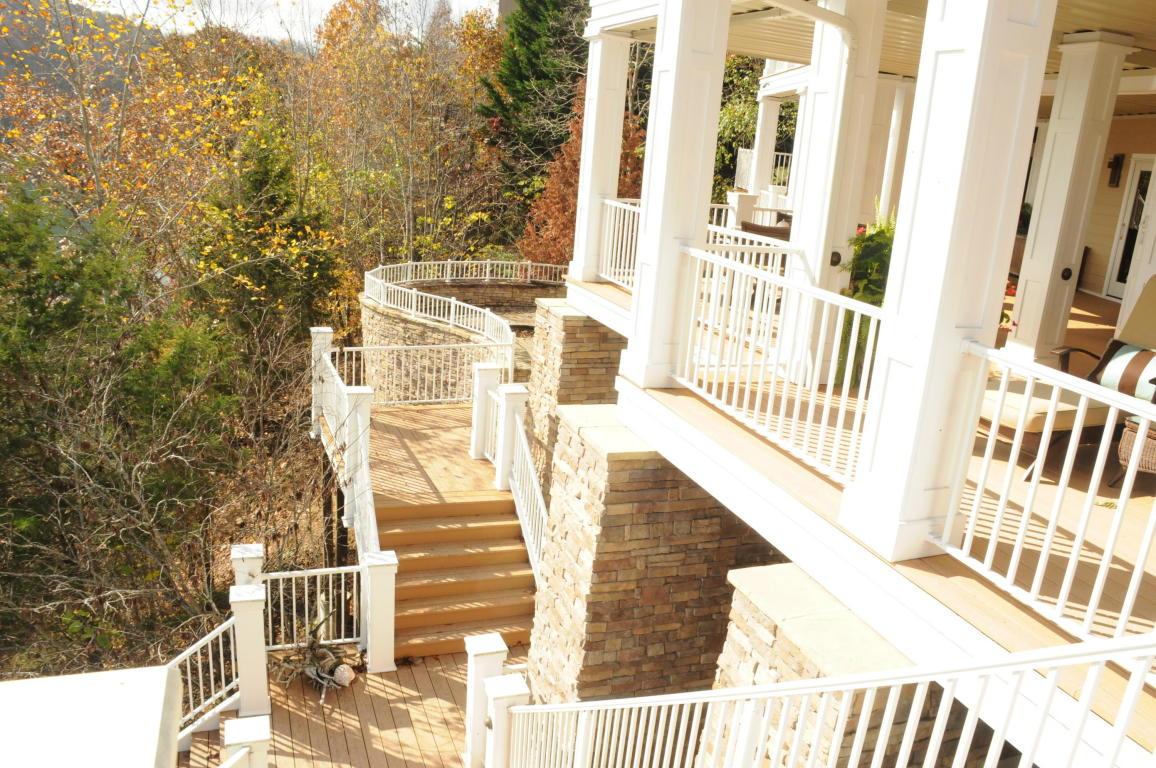Direct view of custom stone craftsmanship on stairway and walkway