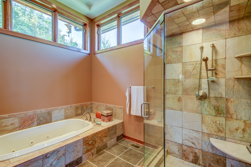 Master Bathroom View of Shower and Tub