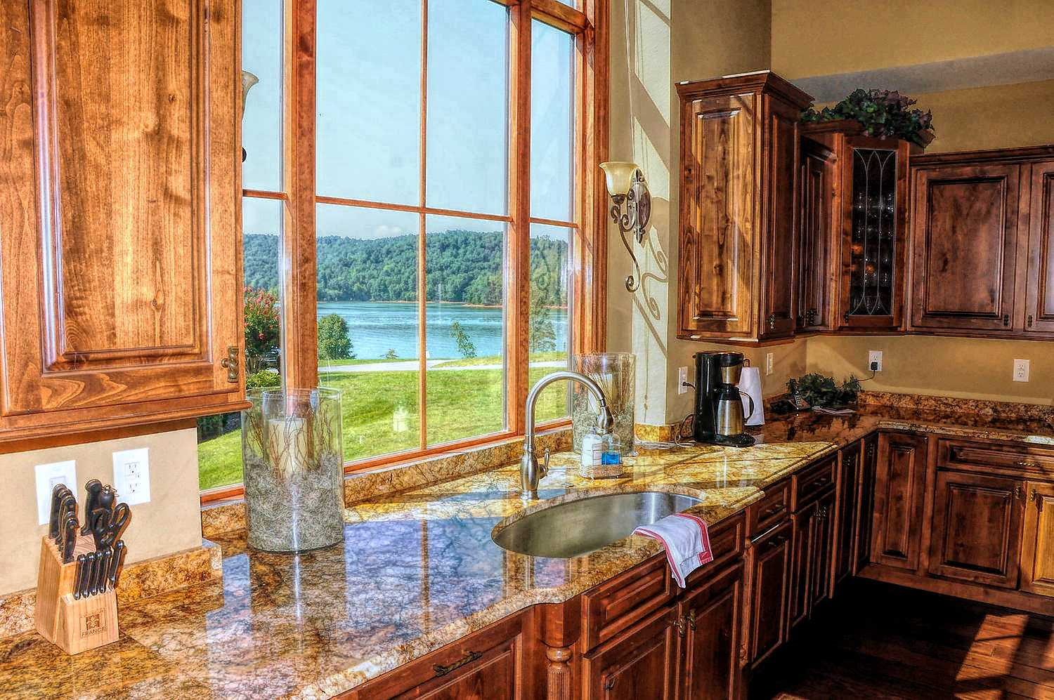 Gorgeous view of Norris Lake from the kitchen sink with Granite counter-tops