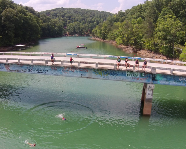 Cedar Creek Jumping Bridge on Norris Lake