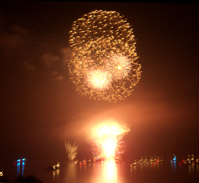 Fireworks at Fire on the Water on Norris Lake